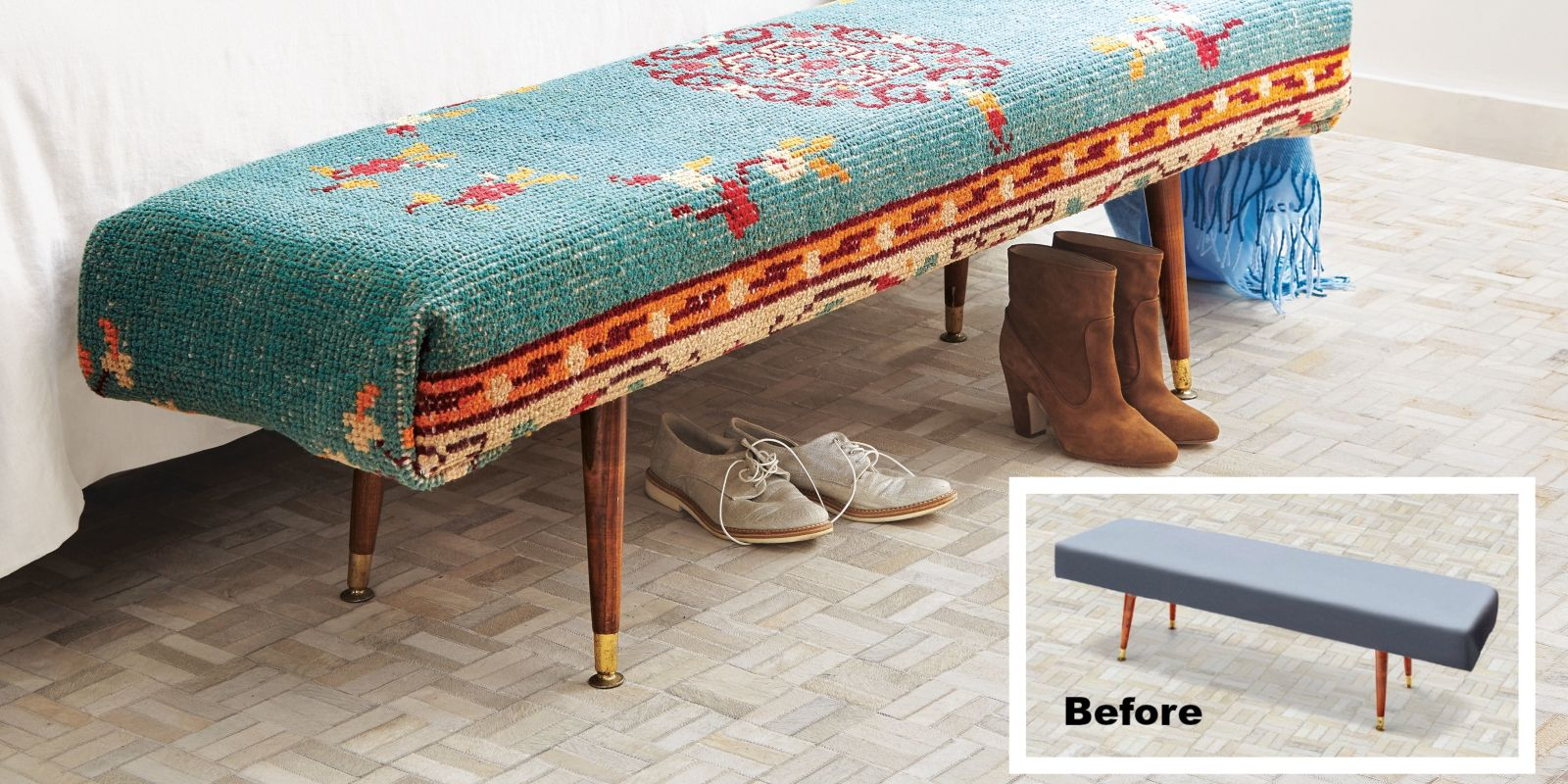 How To Diy Rug Covered Upholstery