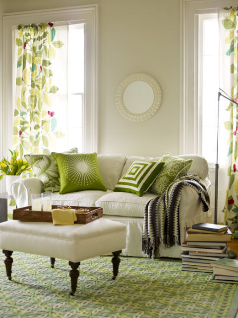 breathtaking green living room decor ideas | Mixing Prints - How to Decorate with Mixed Prints