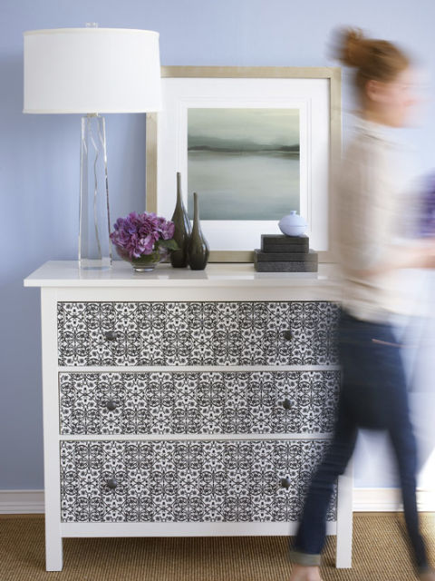 Dresser With Wallpapered Front
