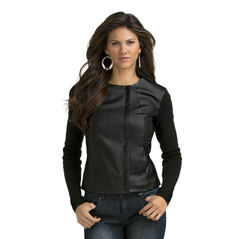 Part sweater, part jacket, this knit-sleeve, leather-body jacket guarantees