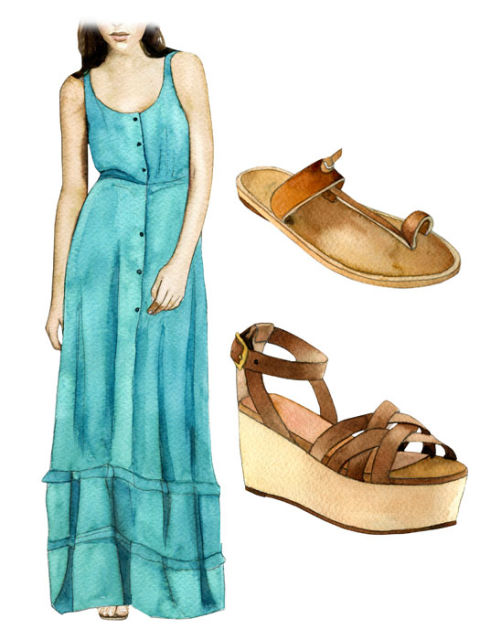 Shoes for long maxi dresses