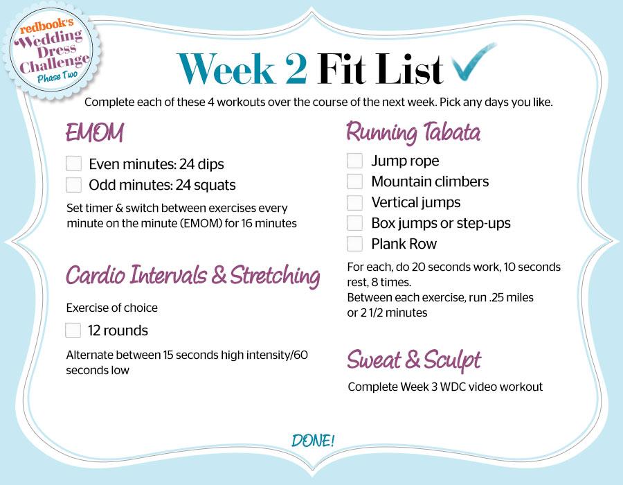 Wedding Dress Challenge Phase 2 Week 3 Workout