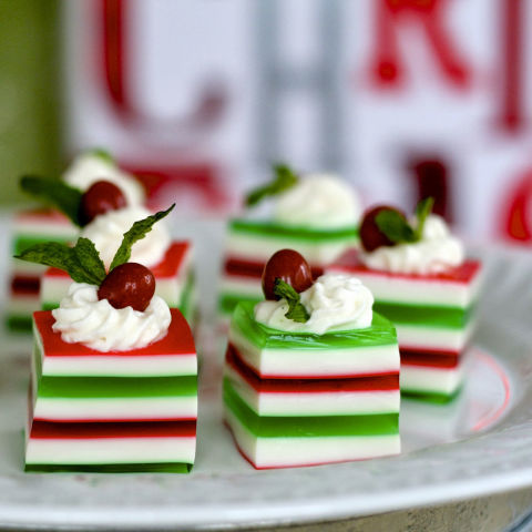 "Nothing will fill your home with holiday cheer quite like these colorful layered shots made with vanilla vodka.</p> <p><strong>Get the recipe from <a href=""http://www.eisforeat.com/2013/12/c-is-for-christmas-jelly-shots.html"" target=""_blank"">E is for Eat</a>.</strong>"