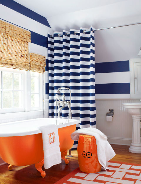 Diy bathroom updates and decor cheap ways to renovate a for Orange and blue bathroom designs