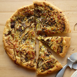 Leek, Mushroom and Pesto Pizza