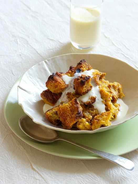 Pumpkin Bread Pudding With Vanilla Rum Custard Sauce