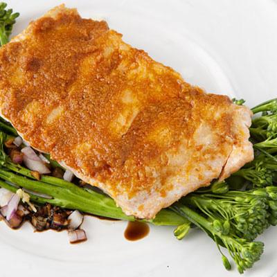 Seared Salmon with Potatoes, Cabbage and Horseradish Vinaigrette