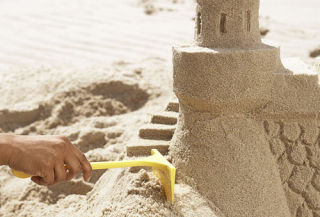 making stairs at sand castle